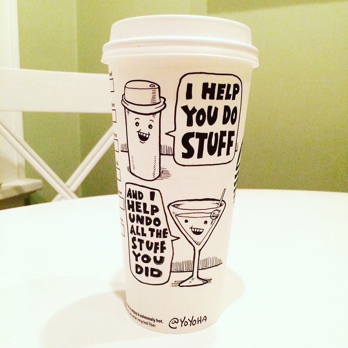 I Got Bored By Blank Coffee Cups, So I Started Drawing