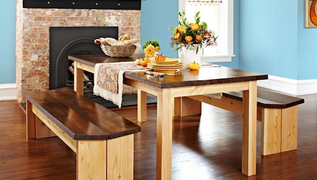 Table and Bench | Discount Dining Room Sets: Make Your Own With These DIY Projects  Read the rest here: Read the rest here: http://livingroomideas.com/diy-discount-dining-room-sets/