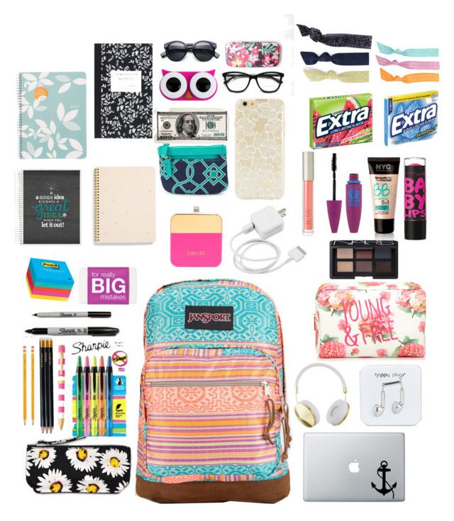"""What's in My Bag?"" by fashionloveree ❤ liked on Polyvore featuring JanSport, Happy Plugs, Frends, Motel, Forever 21, Maybelline, NARS Cosmetics, Ilia, Sugar Paper and Post-It"