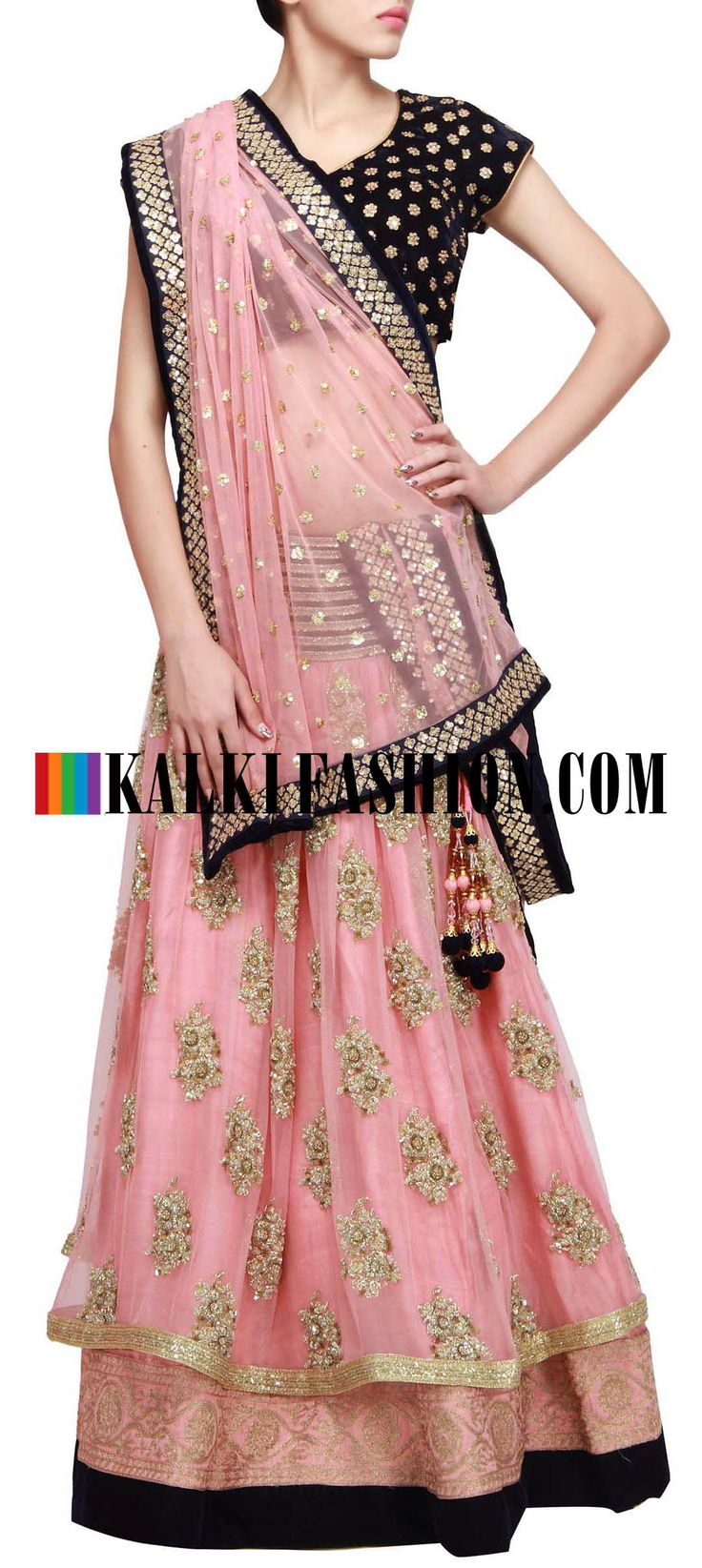 Buy Online from the link below. We ship worldwide (Free Shipping over US$100) http://www.kalkifashion.com/lehenga-featuring-in-pink-with-embroidered-butti-all-over-only-on-kalki.html Lehenga featuring in pink with embroidered butti all over only on Kalki