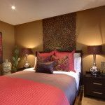 Contemporary Bedroom Design with Red Brown Color Scheme and Bedroom Decoration