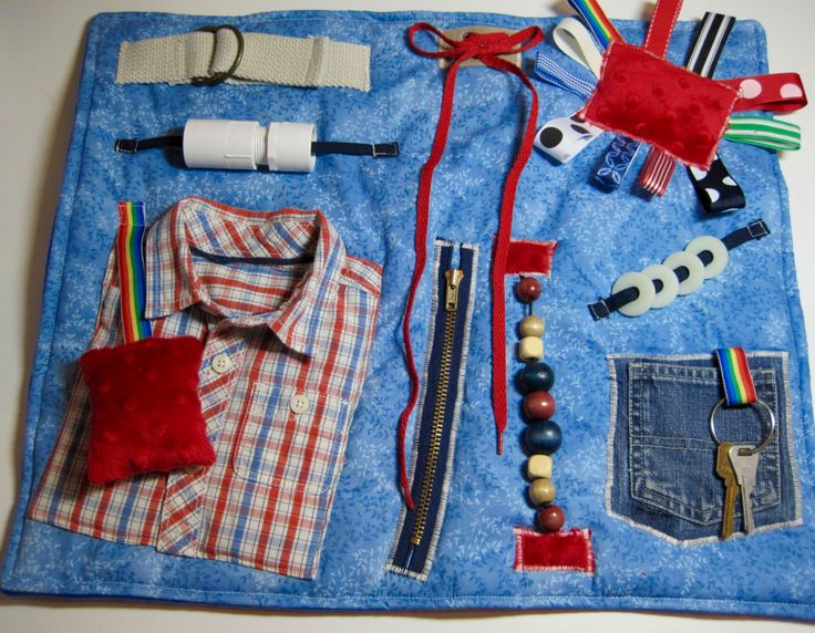 Masculine style Red & Blue Plaid Shirt on Blue Fidget, Sensory, Activity Quilt Blanket by TotallySewn on Etsy