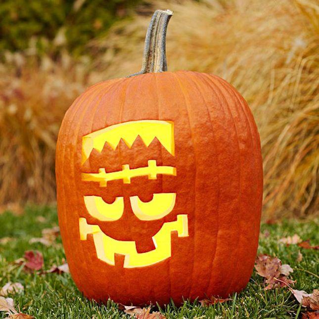 DIY a Frankenstein pumpkin for Halloween.