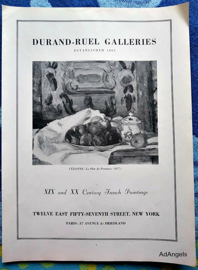 1939 Duveen Brothers and Durand-Ruel Galleries ad. Cezanne