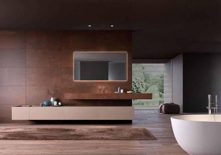 #marron #brown #salledebain #bathroom #modula #Stocco #lavabo