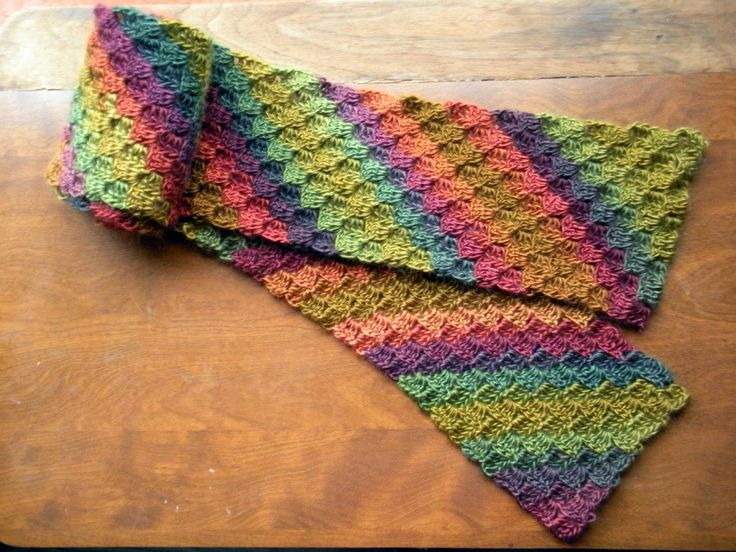 Unforgettable Crochet Scarf Diagonal Stripe