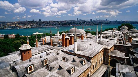 The roofs of the harem of the Topkapi Palace and the Golden Horn in the background.