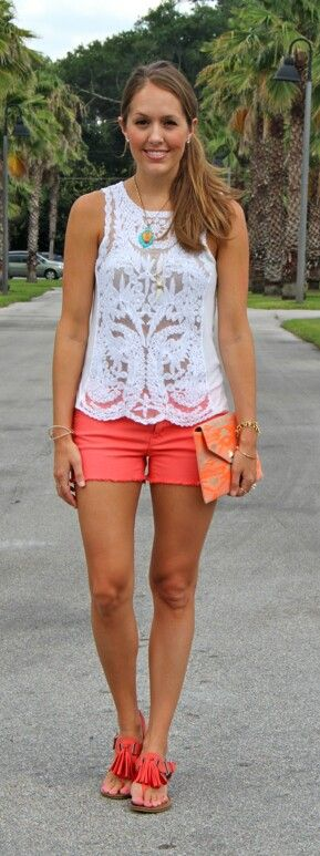 I love the lace top with the bright shorts!