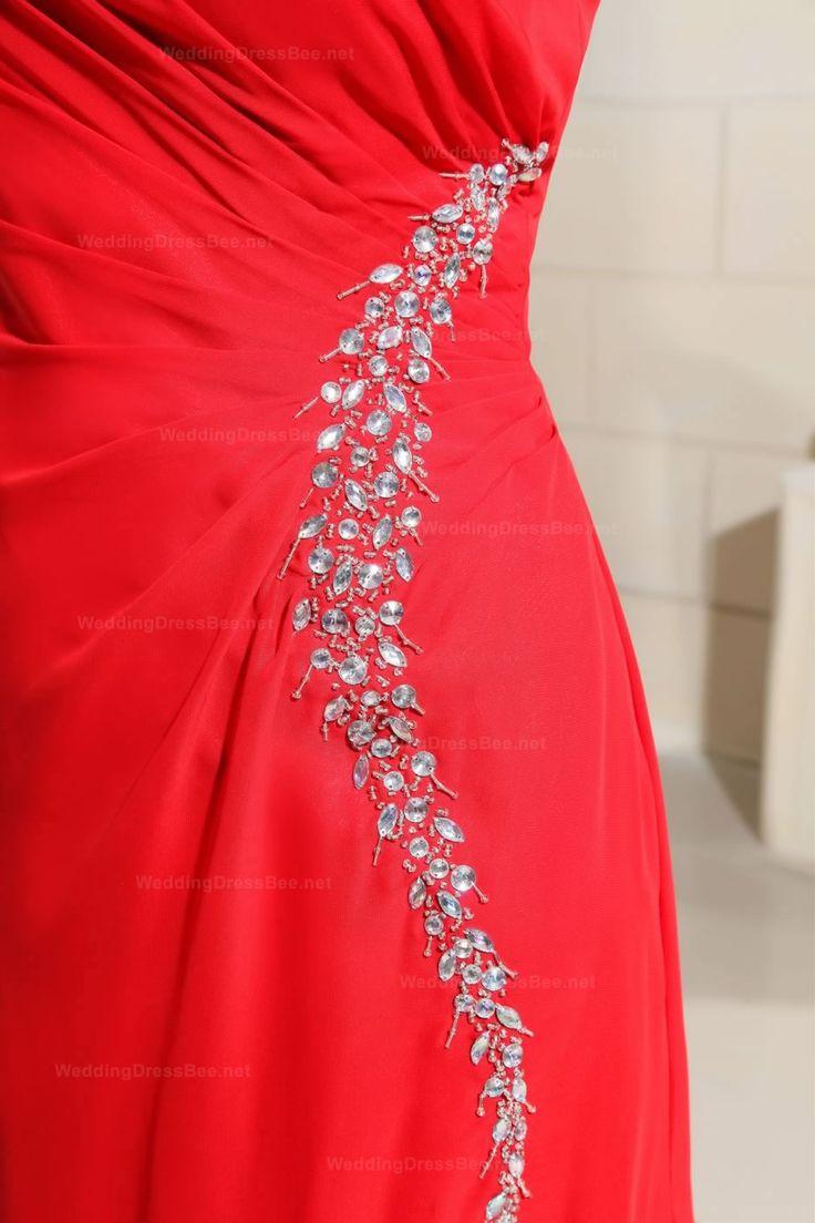 One-Shoulder Design High Split Chiffon Dress With Beading Embellishment