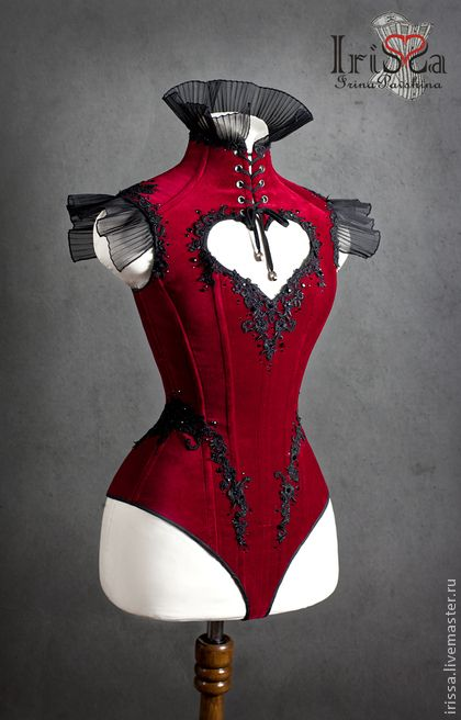 """Irina IriSSa Pavshin red velvet corset body.  Click through to see other views, including a couple on a model.  The heart-shaped cutout placement is... ideal.  ;) Корсеты ручной работы. Ярмарка Мастеров - ручная работа Корсет - боди """" Velvet Heart """". Handmade."""