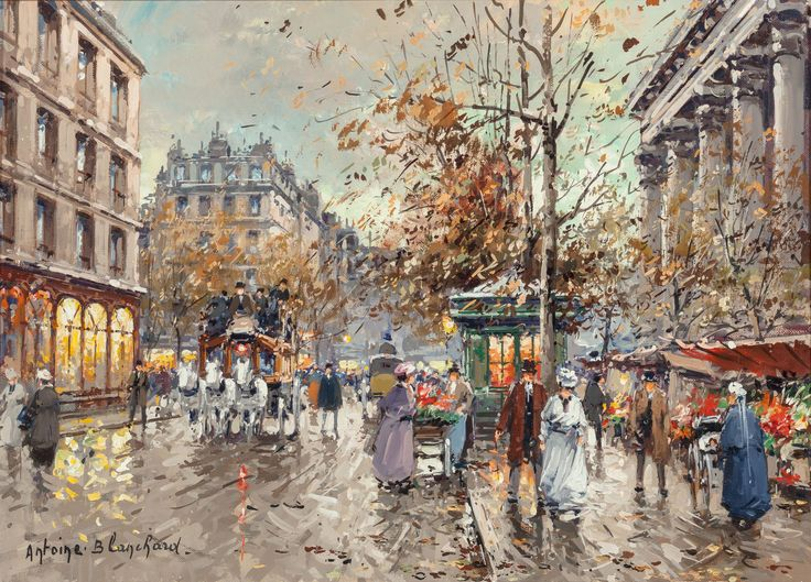 Antoine Blanchard (French, 1910-1988) Le marché aux fleurs de la Madeleine Oil on canvas 13-1/8 x 18-1/8 inches (33.3 x 46.0 cm) Signed lower left: Antoine. Blanchard. Signed, titled, and inscribed verso: Le Marché aux Fleurs / de la Madeleine / Paris en 1900 / Antoine Blanchard: