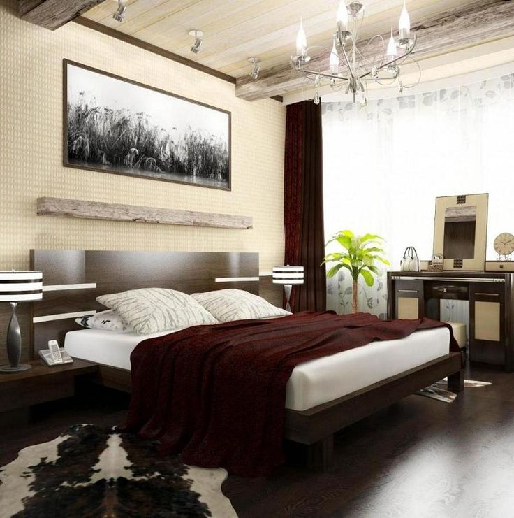 Cozy Wooden Flooring Bedroom Design With Fancy Chandelier In Wooden Ceiling  As Well Brown White Rug