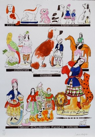 Staffordshire Figures - Laura Knight  Hand coloured giclee print