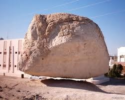 A huge rock in a village of Al-Hassa region, SAUDI ARABIA raises 11 cms from the ground level once in a year during the month of April and stays...