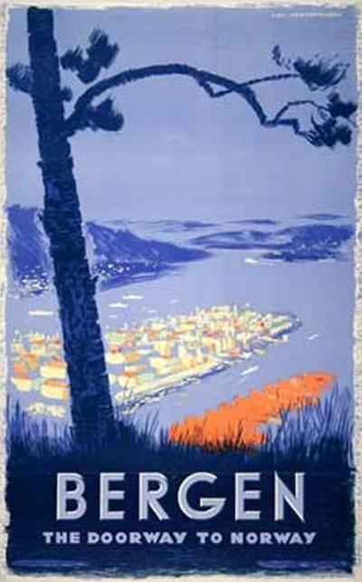 """Poster: Bergen - Norway Artist: Kjell Kristoffersen """"The Doorway to Norway"""""""