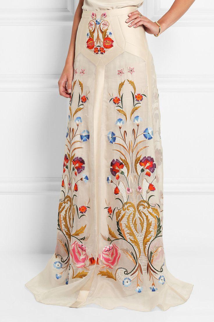 Temperley London Toledo floral-embroidered silk-blend organza maxi skirt NET-A-PORTER.COM