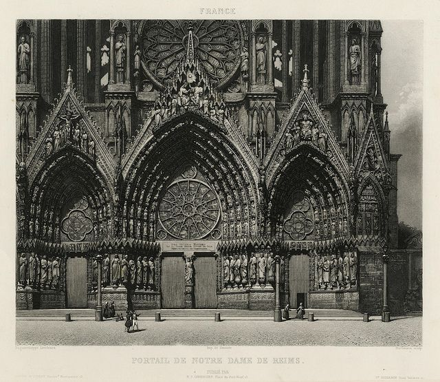 Excursions Daguerriennes - Portail Cathédrale de Reims, 1843  Maker: Noel-Marie-Paymal Lerebours Nationality: France Medium: etching with acquatint from a daguerreotype Size: 5.9 in x 8.1 in Location: France