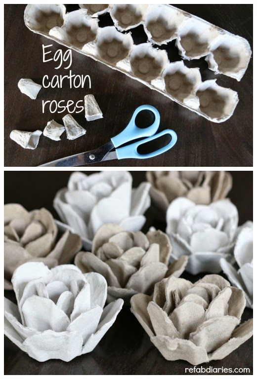 Turn an ordinary egg carton into paper roses. #upcycle #earthdaycrafts