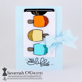 card by SPARKS DT Savannah--using the Sugar Rush stamp set May Cool Shades challengeSavannah, Stamp Sets, Cards Ideas, Paper Smooches, Shades Challenges, Smooches Sparkly, Stamps Sets, Rush Stamps, Retreat Ideas