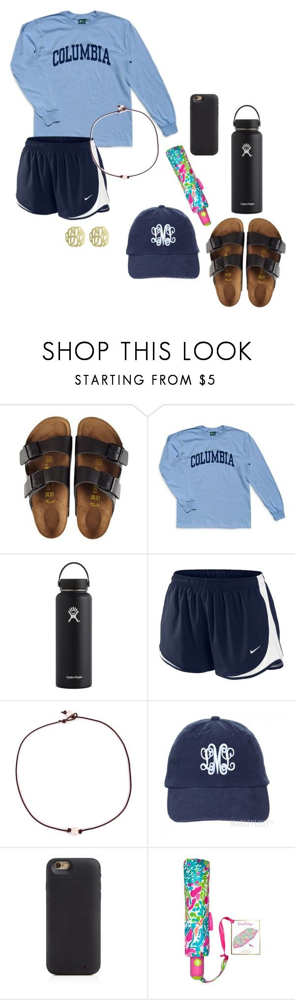 """field trip monday!"" by preppygurl02 ❤ liked on Polyvore featuring Birkenstock, Columbia, Hydro Flask, NIKE, Riah Fashion, Mophie, Lilly Pulitzer and Initial Reaction"