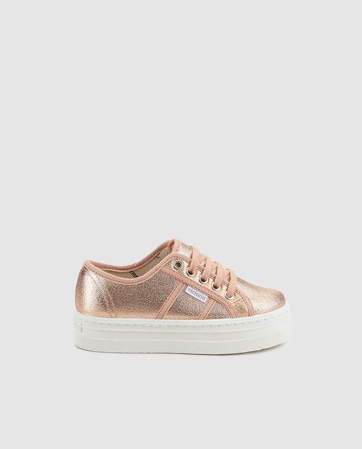 Zapatillas de lona de niña Victoria de color natural con efecto metalizado