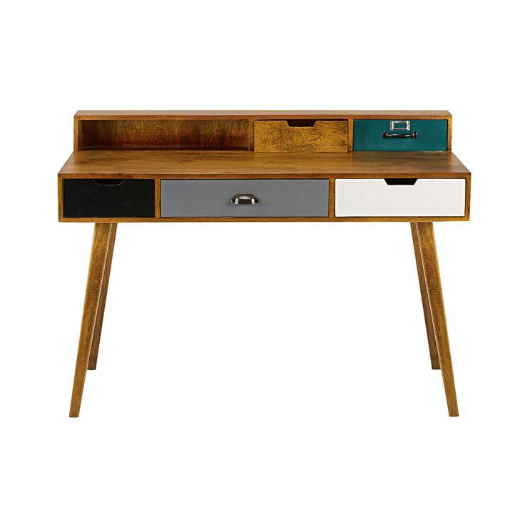 5-drawer solid mango wood desk Picadilly