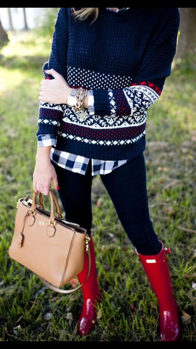 Red Hunter boots. On sale $104.99 @ 6pm. Cute here with black skinnies. Holiday sweater and houndstooth button up.