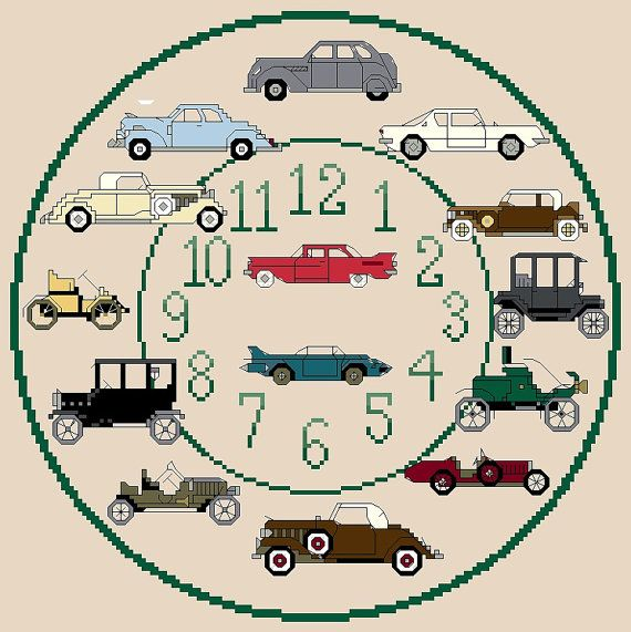 Classic Cars Cross Stitch Clock Chart / Pattern by IpeksGemBoxUK