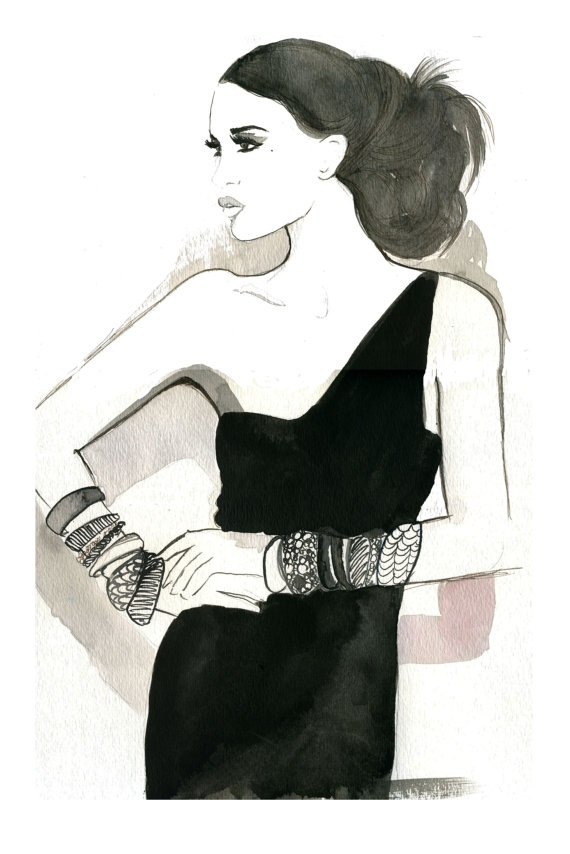 Halston Girl, #watercolor #fashion #illustration