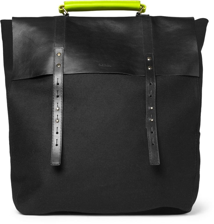 Paul Smith Leather & Felt Bag w/ neon handle