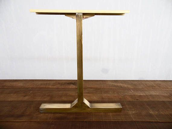 BESIK   Single Bar Table Legs, Brass, Width Base,height   Antique Brass Legs  Made By Balasagun