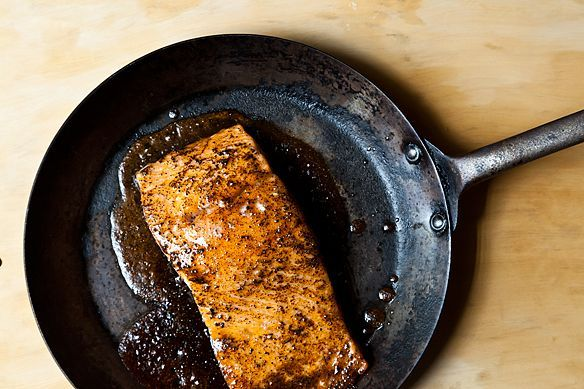 Maple-Cardamom Glazed Salmon -- I wonder if covering in foil for cooking and then moving to top shelf uncovered for crisping would keep the salmon from drying at all