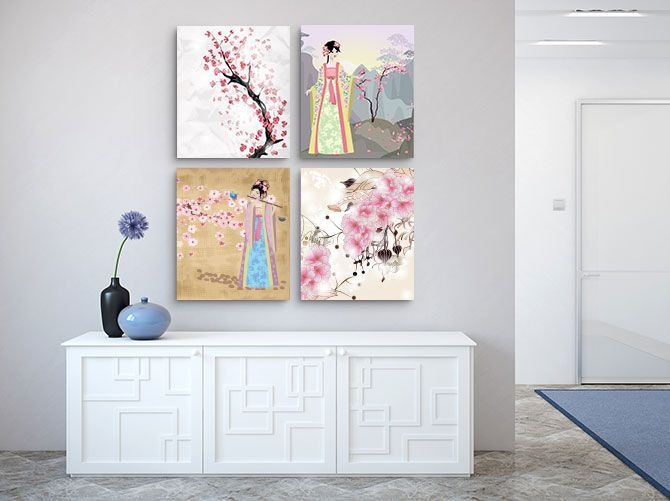 The use of geisha inspired art has stood the test of time, bringing a delicate touch of femininity to your home. #JapaneseArt #JapaneseInteriorDesign