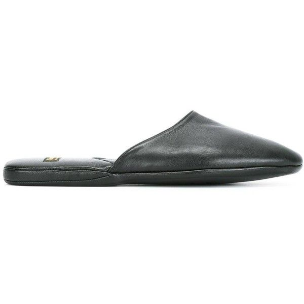 Church's 'Air Travel' slippers featuring polyvore, men's fashion, men's shoes, men's slippers, black, mens travel slippers, mens black shoes, church's men's shoes, mens travel shoes and mens leather slippers