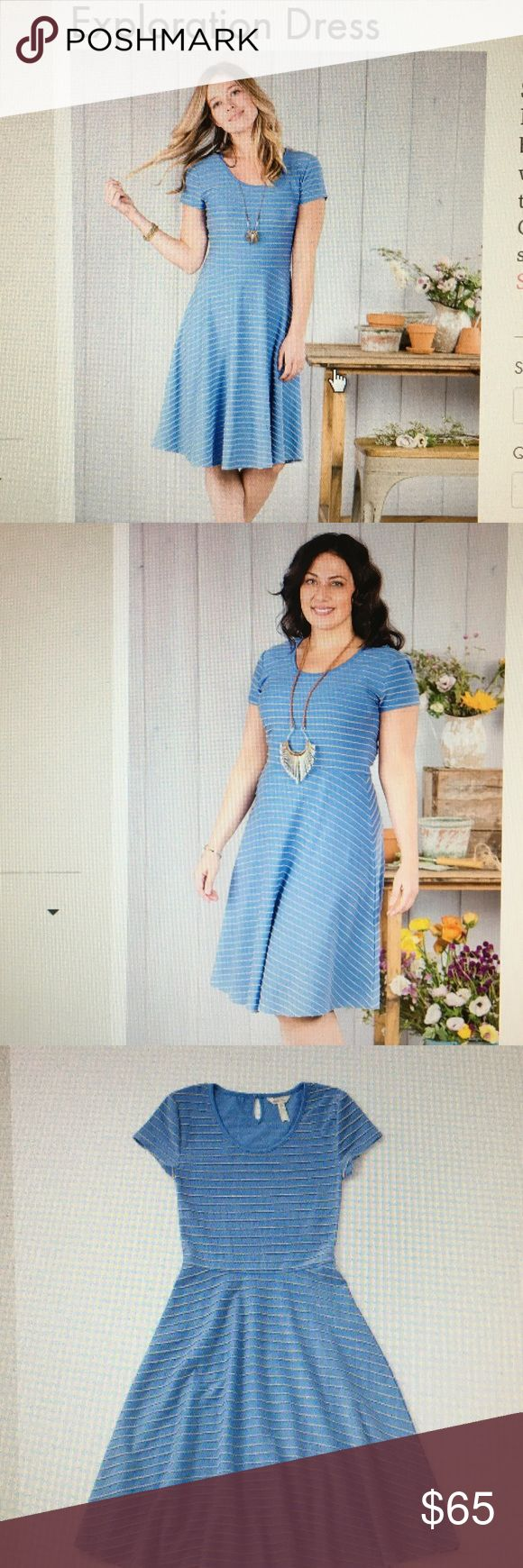 Matilda Jane Exploration dress NWT, Feb 2017 XL Matilda Jane Exploration dress, never worn. Only selling because it didn't fit me. Very comfortable knit with tan stripe. Very cute with a cardigan now or without for spring. Originally $72 Matilda Jane Dresses