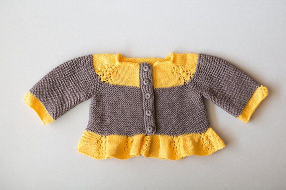 Knitted Baby Cardigan, Knitted Baby Sweater, Baby Sweater, Yellow and Brown