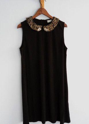Kup mój przedmiot na #vintedpl http://www.vinted.pl/damska-odziez/sukienki-wieczorowe/15253095-mala-czarna-sukienka-kolnierzyk-elegancka-koraliki-cekiny-wallis-l-40-sylwester-pensjonarka