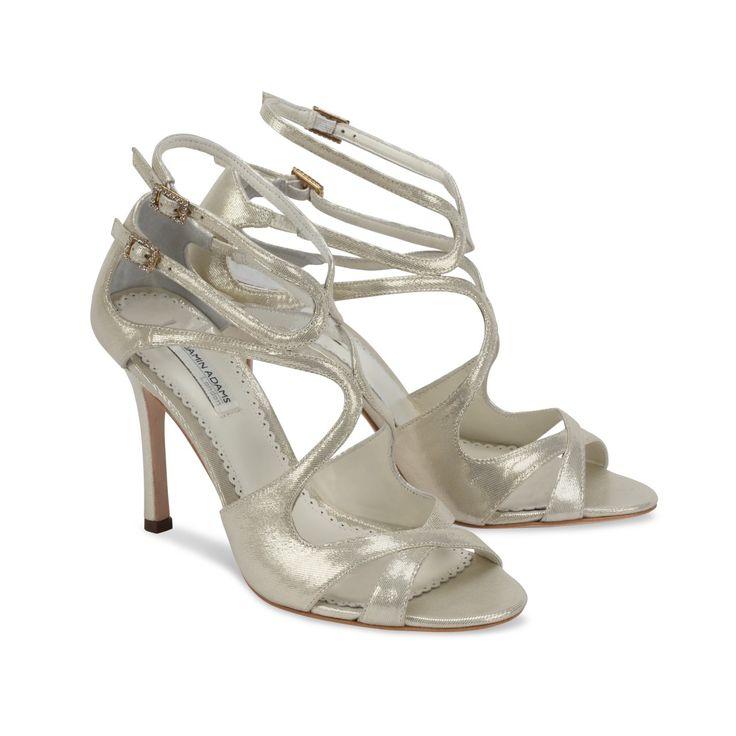 Benjamin Adams Hilary Gold Leather Designer Wedding ShoesBridal
