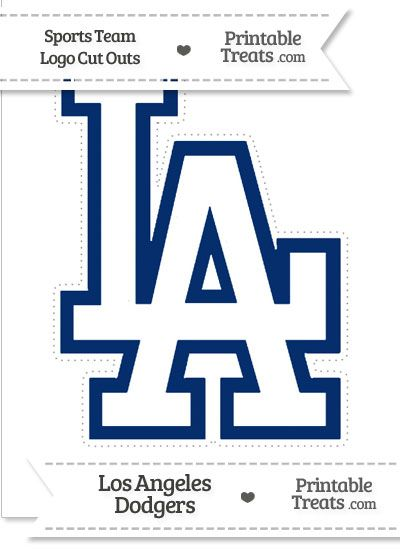 Large Los Angeles Dodgers Logo Cut Out from PrintableTreats.com