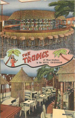 1930s-TIKI-restaurant-Tropics-Linen-Teich-interior-postcard-9345-CHICAGO-IL