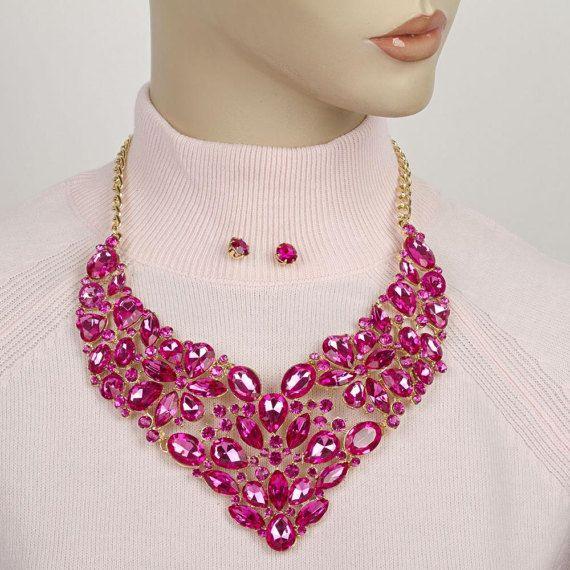 Pink rhinestone necklace statementJewellery SetPink Crystal