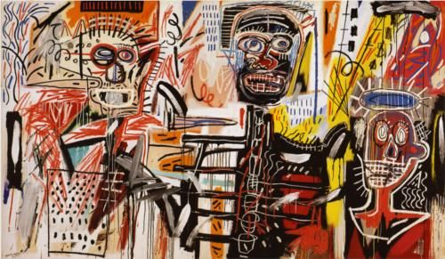 """Basquiat. """"Philistines."""" 1982. Private collection. Jean-Michel Basquiat's work is described as neo-expressionism and abstraction."""
