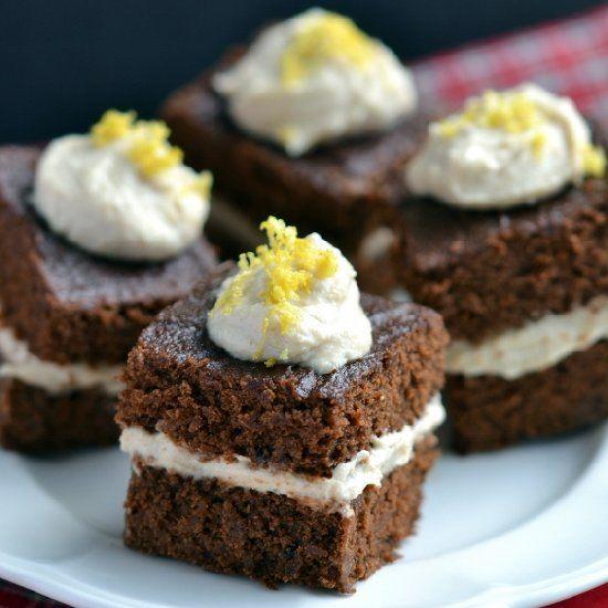 Gingerbread Cake with Lemon Cashew Cream- vegan & gluten-free.
