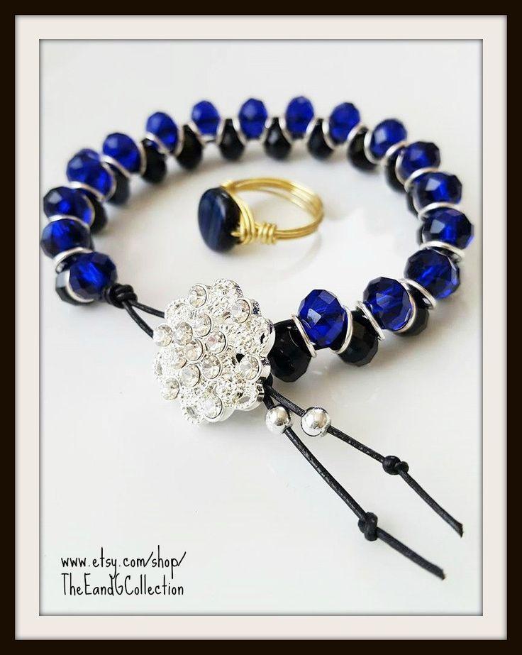 thin blue line bracelet, Police Wife jewelry, LEO Wife, Goddess bracelet,Blue black crystal, CHP Highway Patrol Deputy Sheriff State Trooper by TheEandGCollection on Etsy
