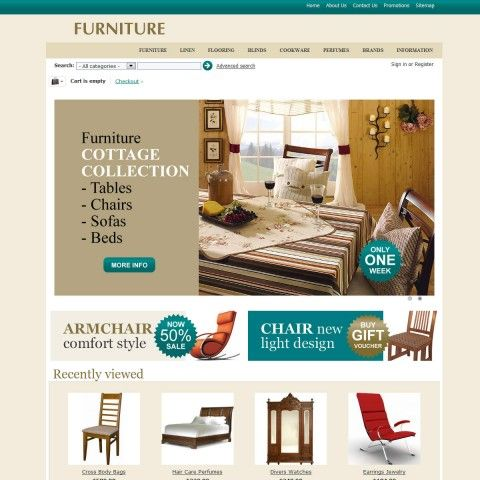 FURNITURE CS-Cart Template is specially designed for Interior & Furniture. Garmonical colors combination of azure and beige is Best decorate for Tables Desks, Chairs Armchairs, Sofas Chaises, Beds, Armoire BookCases, Garden Outdoor. It is very nice with its clean and professional look.