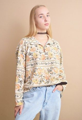 90's+retro+floral+pattern+oversized+neutral+jumper+top