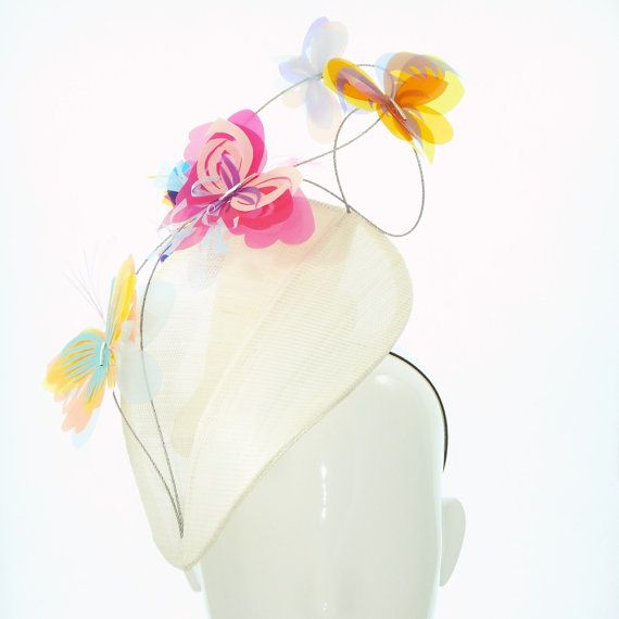 Butterflys on Ivory Grand Design Hat - Spring Racing Carnival, Bespoke Headwear