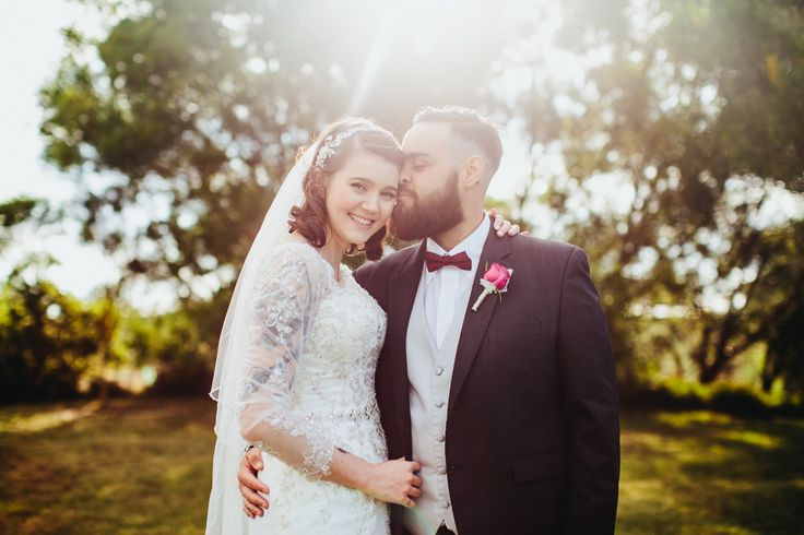 Sunset Wedding Photo | Golden Hour | Long Sleeve Wedding Dress | Tattooed Bride