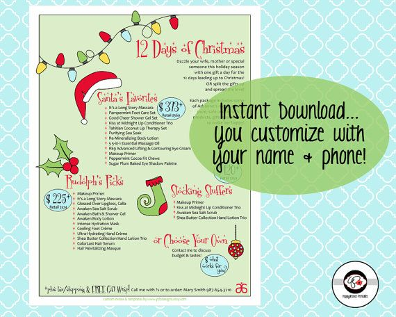 12 days of christmas arbonne holiday sale flyer by
