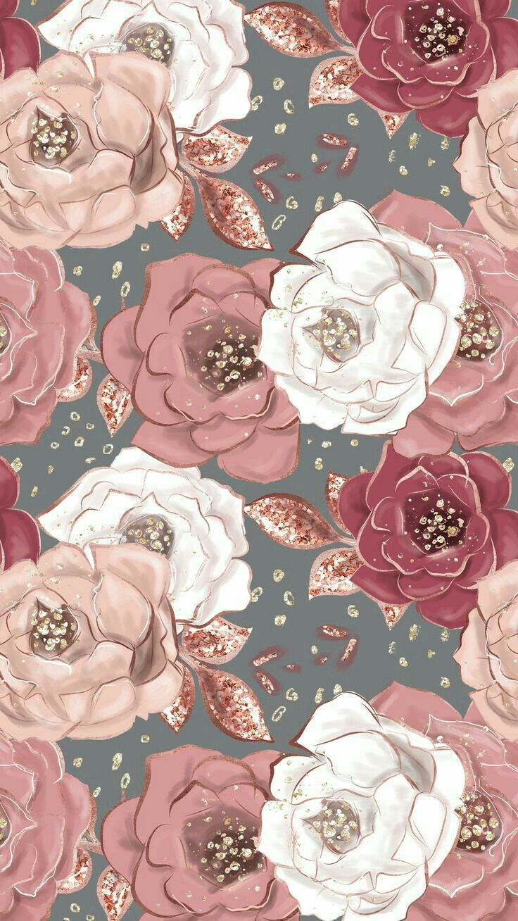 Pink Rose Gold Floral Pattern Flower Wallpaper Floral